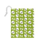Skull Bone Mask Face White Green Drawstring Pouches (Medium)  Back