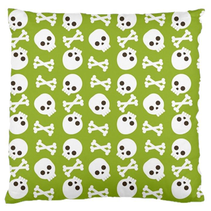 Skull Bone Mask Face White Green Standard Flano Cushion Case (One Side)