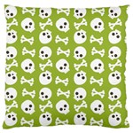 Skull Bone Mask Face White Green Large Flano Cushion Case (Two Sides) Front