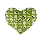 Skull Bone Mask Face White Green Standard 16  Premium Flano Heart Shape Cushions Back