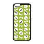 Skull Bone Mask Face White Green Apple iPhone 6/6S Black Enamel Case Front