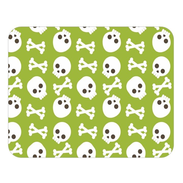Skull Bone Mask Face White Green Double Sided Flano Blanket (Large)