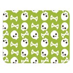 Skull Bone Mask Face White Green Double Sided Flano Blanket (Large)   Blanket Back