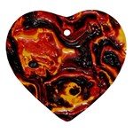 Lava Active Volcano Nature Ornament (Heart) Front