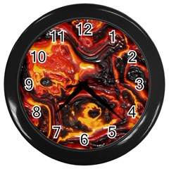 Lava Active Volcano Nature Wall Clocks (black) by Alisyart