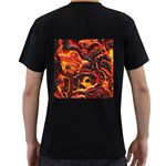 Lava Active Volcano Nature Men s T-Shirt (Black) (Two Sided) Back