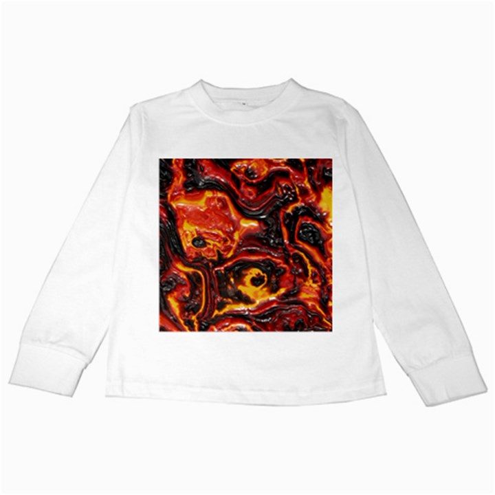 Lava Active Volcano Nature Kids Long Sleeve T-Shirts