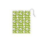Skull Bone Mask Face White Green Drawstring Pouches (XS)  Front
