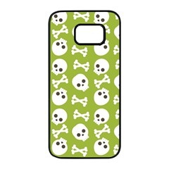 Skull Bone Mask Face White Green Samsung Galaxy S7 Edge Black Seamless Case