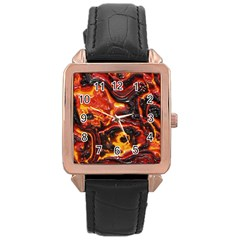 Lava Active Volcano Nature Rose Gold Leather Watch  by Alisyart