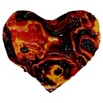 Lava Active Volcano Nature Large 19  Premium Flano Heart Shape Cushions Back
