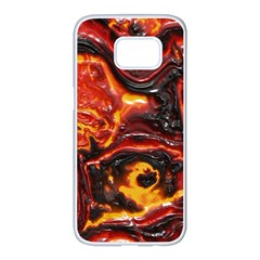 Lava Active Volcano Nature Samsung Galaxy S7 Edge White Seamless Case by Alisyart