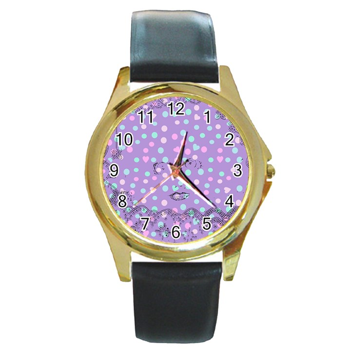 Little Face Round Gold Metal Watch