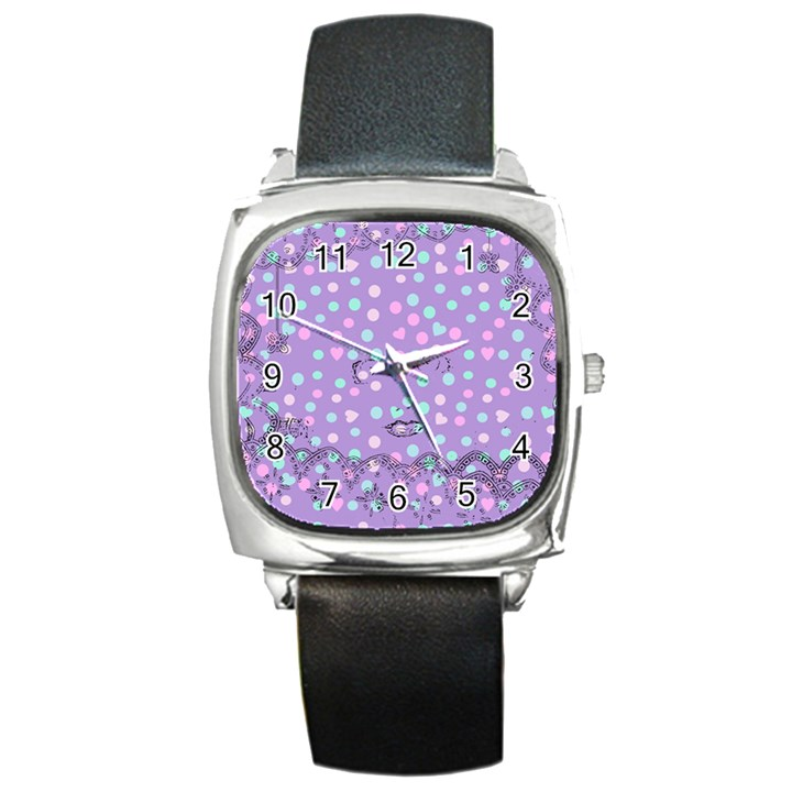 Little Face Square Metal Watch