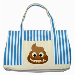 Poo Happens Striped Blue Tote Bag by Vitalitee