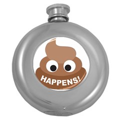 Poo Happens Round Hip Flask (5 Oz)