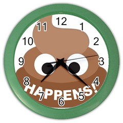 Poo Happens Color Wall Clocks
