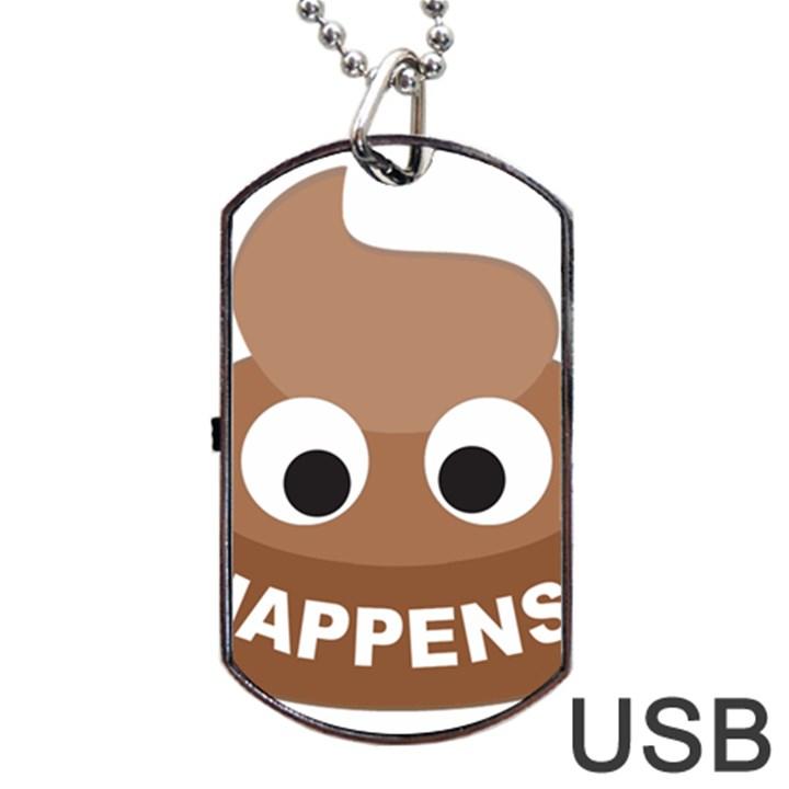 Poo Happens Dog Tag USB Flash (One Side)