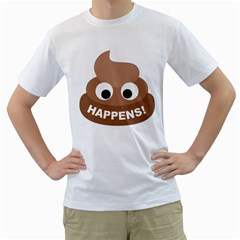 Poo Happens Men s T Shirt (white) (two Sided)