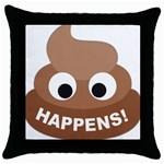 Poo Happens Throw Pillow Case (Black) Front