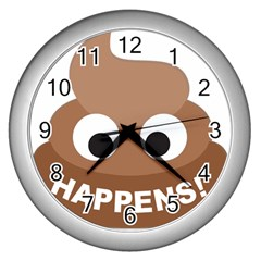Poo Happens Wall Clocks (silver)