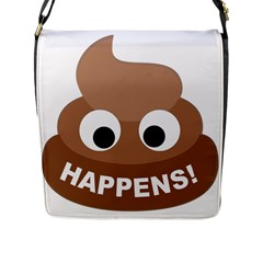 Poo Happens Flap Messenger Bag (l)  by Vitalitee
