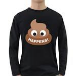 Poo Happens Long Sleeve Dark T-Shirts Front