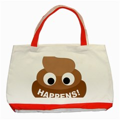 Poo Happens Classic Tote Bag (red)