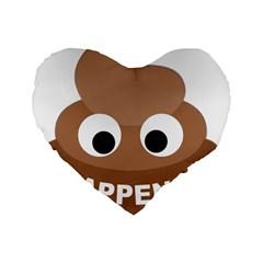 Poo Happens Standard 16  Premium Flano Heart Shape Cushions