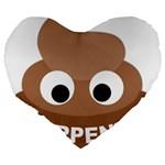Poo Happens Large 19  Premium Flano Heart Shape Cushions Back