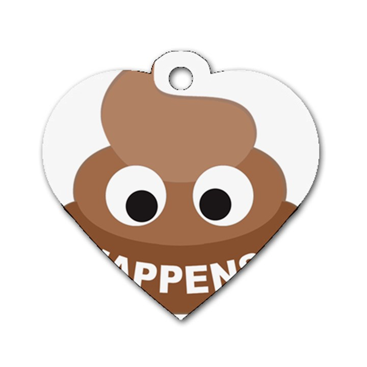 Poo Happens Dog Tag Heart (One Side)