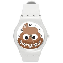 Poo Happens Round Plastic Sport Watch (m)