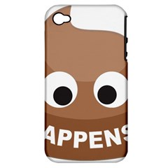 Poo Happens Apple Iphone 4/4s Hardshell Case (pc+silicone) by Vitalitee