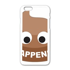 Poo Happens Apple Iphone 6/6s White Enamel Case by Vitalitee