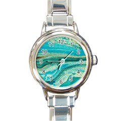 Mint,gold,marble,nature,stone,pattern,modern,chic,elegant,beautiful,trendy Round Italian Charm Watch