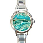 Mint,gold,marble,nature,stone,pattern,modern,chic,elegant,beautiful,trendy Round Italian Charm Watch Front