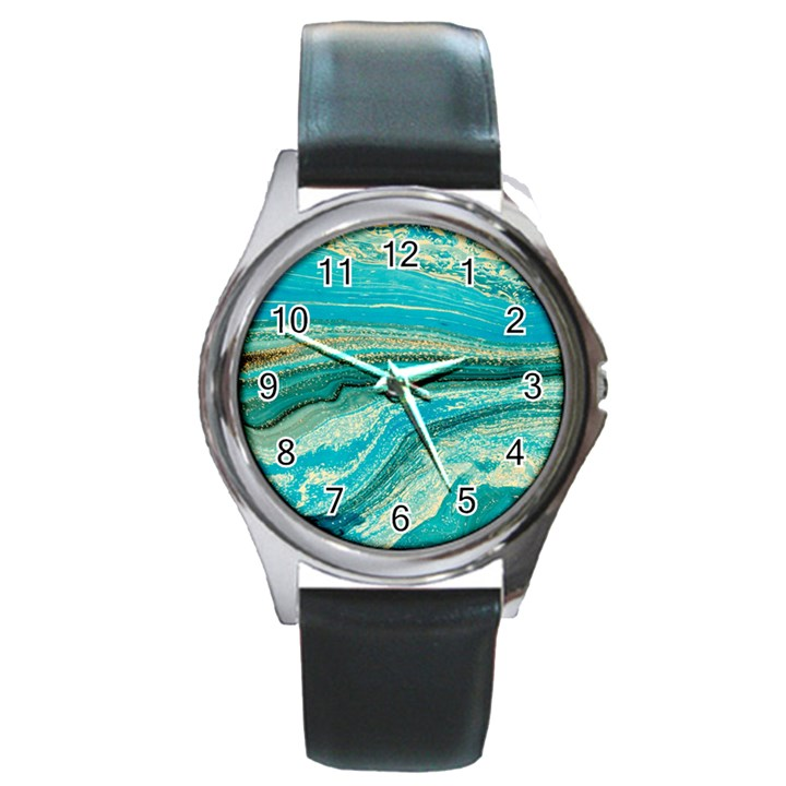 Mint,gold,marble,nature,stone,pattern,modern,chic,elegant,beautiful,trendy Round Metal Watch