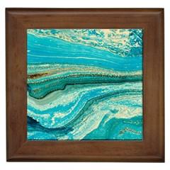 Mint,gold,marble,nature,stone,pattern,modern,chic,elegant,beautiful,trendy Framed Tiles