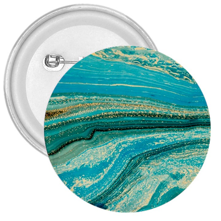 Mint,gold,marble,nature,stone,pattern,modern,chic,elegant,beautiful,trendy 3  Buttons