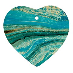 Mint,gold,marble,nature,stone,pattern,modern,chic,elegant,beautiful,trendy Ornament (heart) by 8fugoso