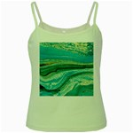 Mint,gold,marble,nature,stone,pattern,modern,chic,elegant,beautiful,trendy Green Spaghetti Tank Front