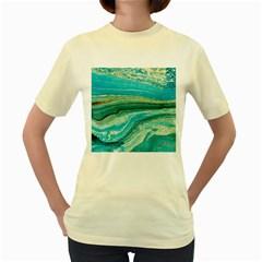 Mint,gold,marble,nature,stone,pattern,modern,chic,elegant,beautiful,trendy Women s Yellow T Shirt