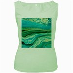 Mint,gold,marble,nature,stone,pattern,modern,chic,elegant,beautiful,trendy Women s Green Tank Top Front