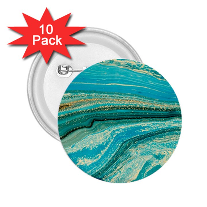 Mint,gold,marble,nature,stone,pattern,modern,chic,elegant,beautiful,trendy 2.25  Buttons (10 pack)