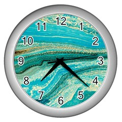 Mint,gold,marble,nature,stone,pattern,modern,chic,elegant,beautiful,trendy Wall Clocks (silver)