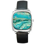 Mint,gold,marble,nature,stone,pattern,modern,chic,elegant,beautiful,trendy Square Metal Watch Front