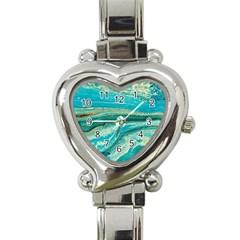 Mint,gold,marble,nature,stone,pattern,modern,chic,elegant,beautiful,trendy Heart Italian Charm Watch by 8fugoso
