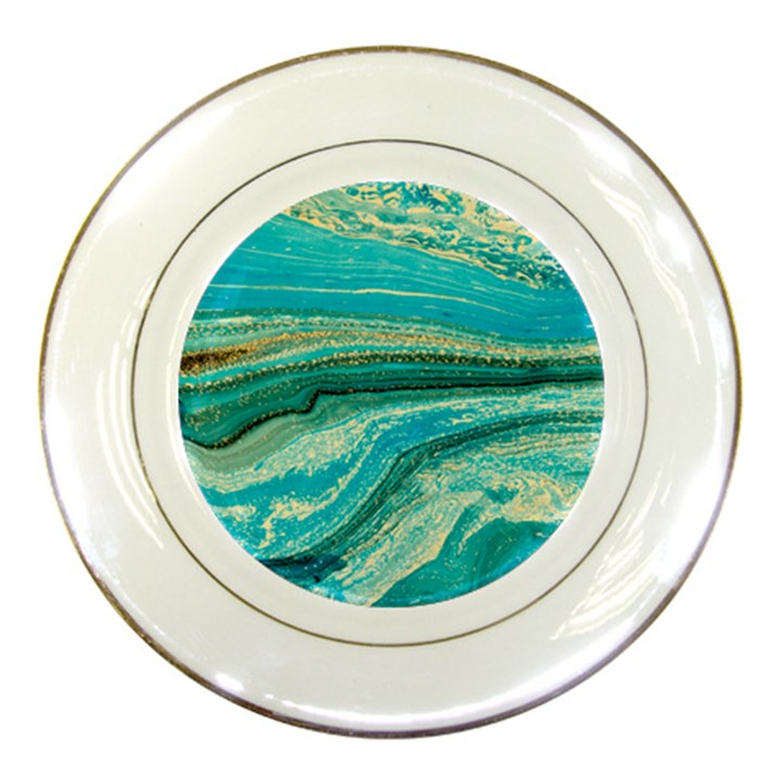 Mint,gold,marble,nature,stone,pattern,modern,chic,elegant,beautiful,trendy Porcelain Plates