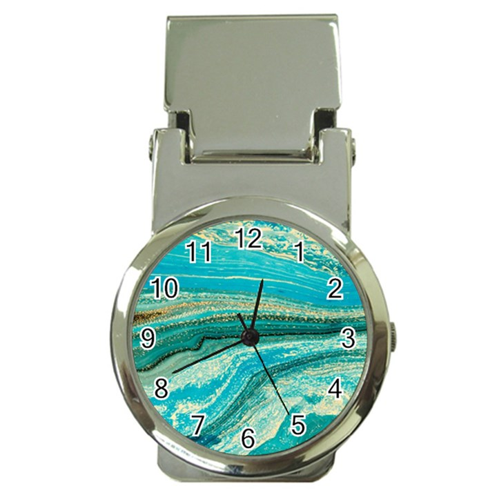 Mint,gold,marble,nature,stone,pattern,modern,chic,elegant,beautiful,trendy Money Clip Watches