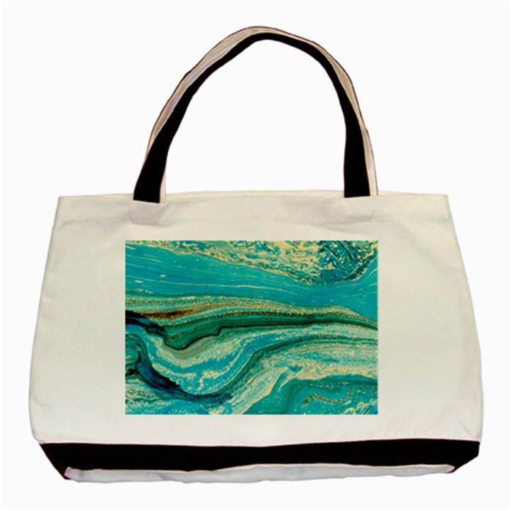Mint,gold,marble,nature,stone,pattern,modern,chic,elegant,beautiful,trendy Basic Tote Bag